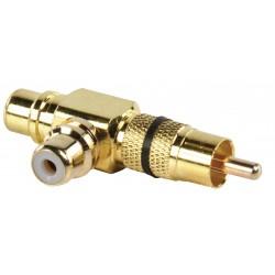 Adapter plug RCA stekker - 2 x RCA kontra stekker (zwart)