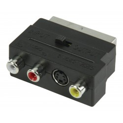 schakelbare scart (M) adapter - 3 x RCA (F) en S-Video (F)